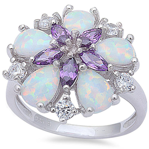 White Fire Opal, Amethyst, & Cz Flower .925 Sterling Silver Ring Sizes 5-11