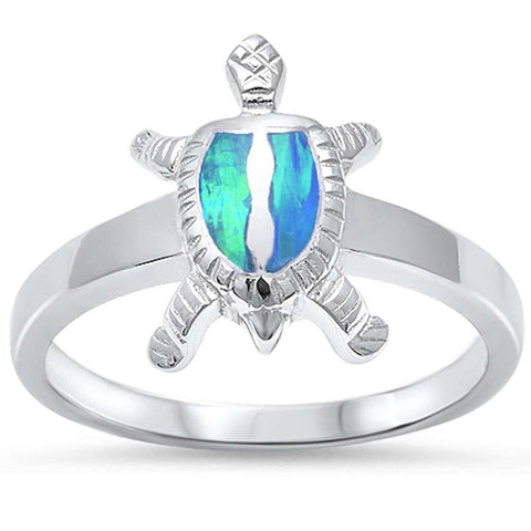 New Blue Opal Turtle .925 Sterling Silver Ring Sizes 5-10
