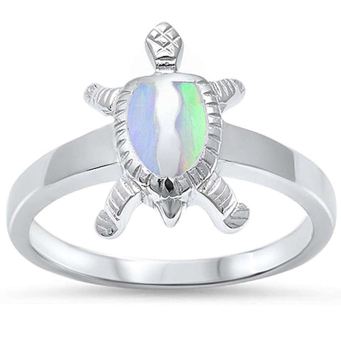 New White Opal Turtle .925 Sterling Silver Ring Sizes 5-10