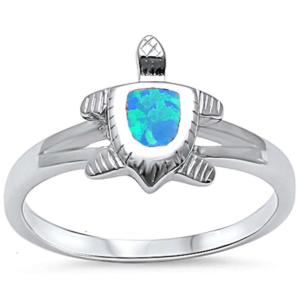 Blue Opal Turtle .925 Sterling Silver Ring Sizes 5-10