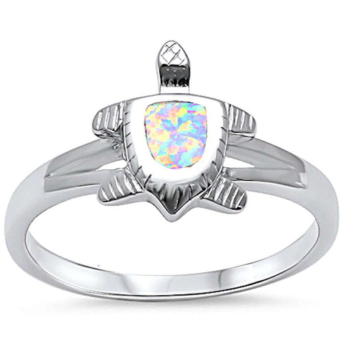 White Opal Turtle .925 Sterling Silver Ring Sizes 5-10