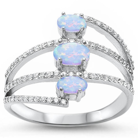 Beautiful Oval White Opal & Cz .925 Sterling Silver Ring Sizes 5-11