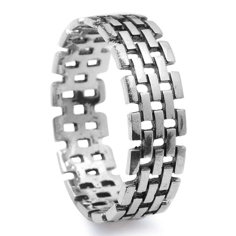 Men's Brick Pattern Fashion Band .925 Sterling Silver Ring Sizes 8-12