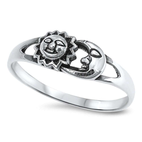 Solid Sun & Moon .925 Sterling Silver Ring Sizes 3-12