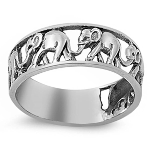 Plain elephant band .925 Sterling Silver Ring Sizes 4-13