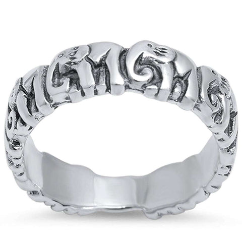 Plain elephant band .925 Sterling Silver Ring Sizes 5-10