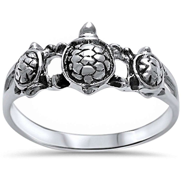 Plain Turtle .925 Sterling Silver Ring Sizes 5-10