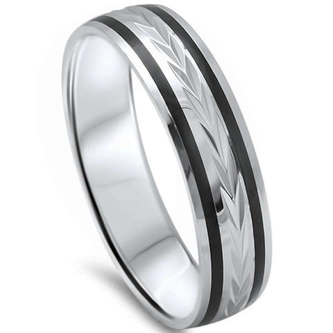 Men's 5mm Black Onyx Comfort Fit .925 Sterling Silver Wedding Band Ring Sizes 8-12