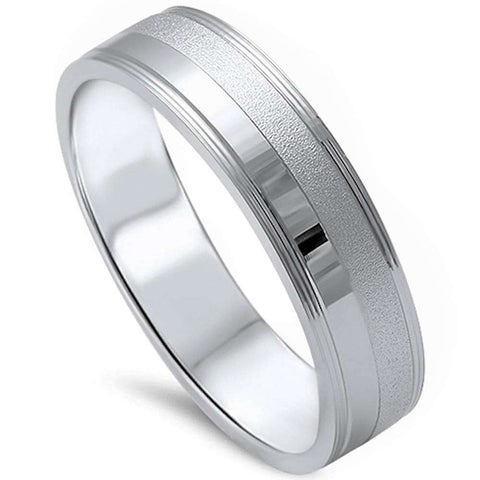 Men's 5mm Brushed Finish Wedding band .925 Sterling Silver Ring Sizes 8-12
