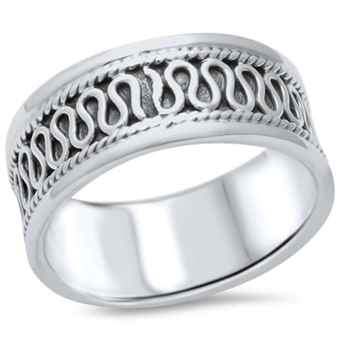 Men's Braided Bali Design Band .925 Sterling Silver Ring Sizes 9-12