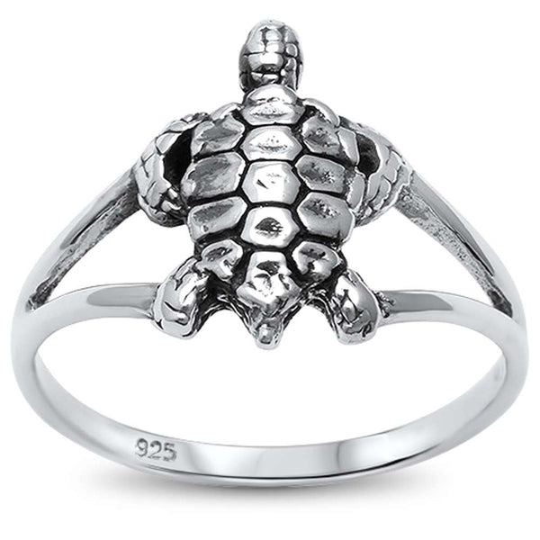 Cute! Plain Turtle  .925 Sterling Silver Ring Sizes 6-10