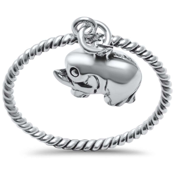 Cute! Dangling Bali Elephant .925 Sterling Silver Ring Sizes 5-10