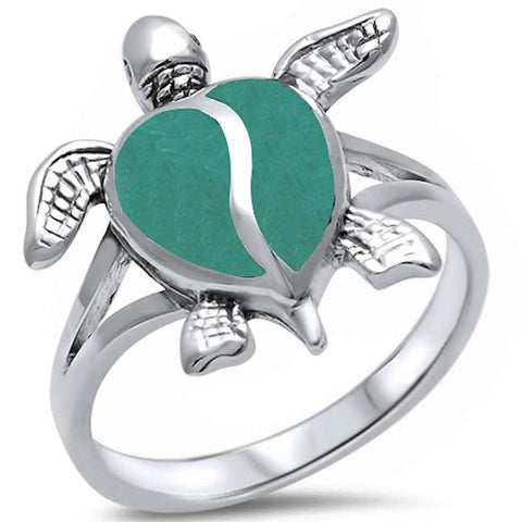 Green Turquoise Turtle .925 Sterling Silver Ring Sizes 4-11