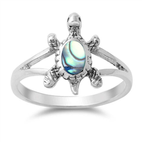 Solid Abalone Turtle .925 Sterling Silver Ring Sizes 5-10