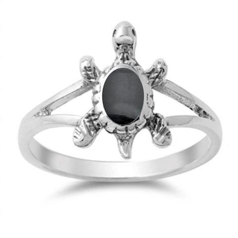 Solid Black Onyx Turtle .925 Sterling Silver Ring Sizes 5-10