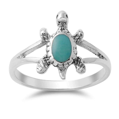 Solid Turquoise Turtle .925 Sterling Silver Ring Sizes 5-11