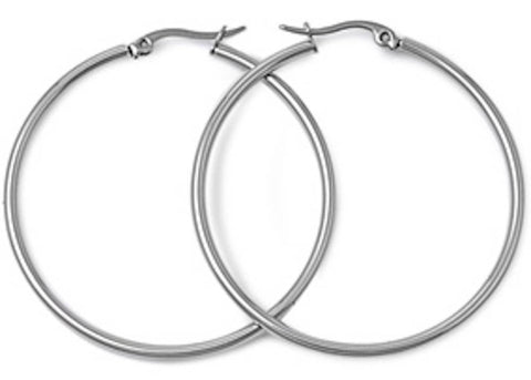 Stainless Steel Round Hoop Earrings - 2mm x 25mm