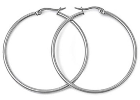 Stainless Steel Round Hoop Earrings - 2mm x 30mm