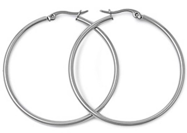 Stainless Steel Round Hoop Earrings - 2mm x 40mm
