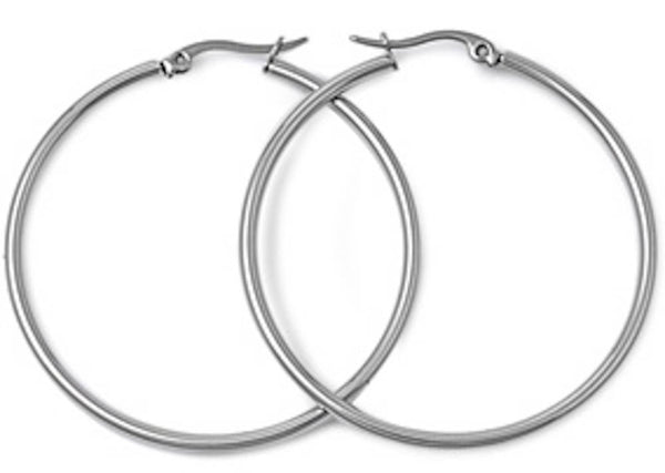 Stainless Steel Round Hoop Earrings - 2mm x 50mm