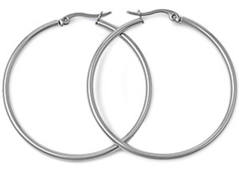 Stainless Steel Round Hoop Earrings - 2mm x 60mm