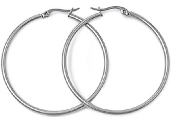 Stainless Steel Round Hoop Earrings - 2mm x 70mm
