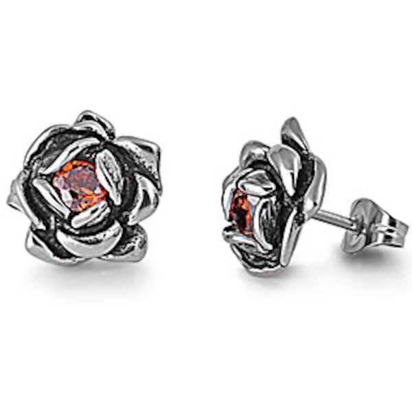 Red Crystal Rose Studs 316L Stainless Steel Earrings