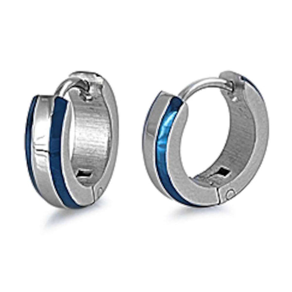 Round Silver & Blue Huggie Hoop 316L Stainless Steel Earrings