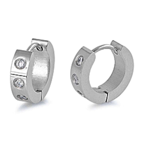 CZ Huggi Hoop 316L Stainless Steel Earrings