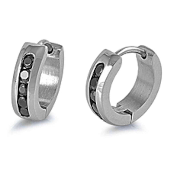 Black CZ Huggie Hoop 316L Stainless Steel Earrings