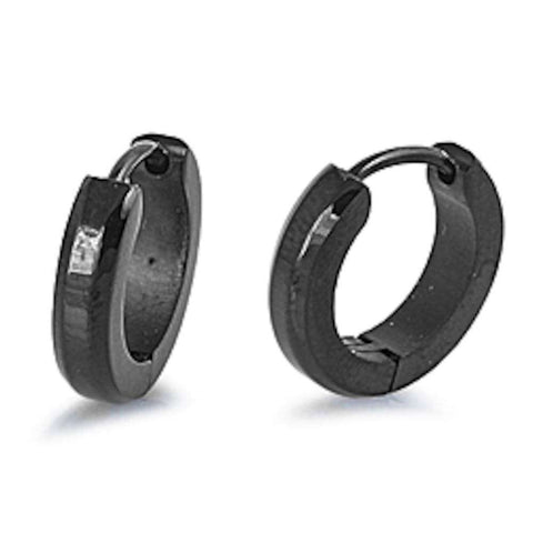 Black Huggie hoop 316L Stainless Steel Earrings