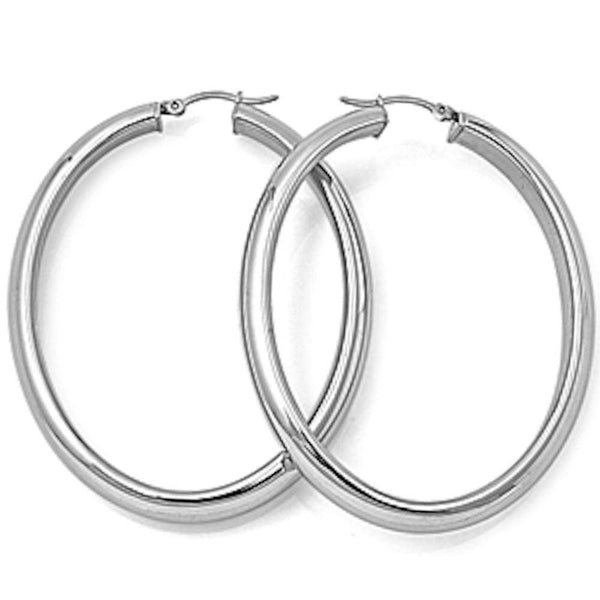 Oval Hoop 316L Stainless Steel Earrings