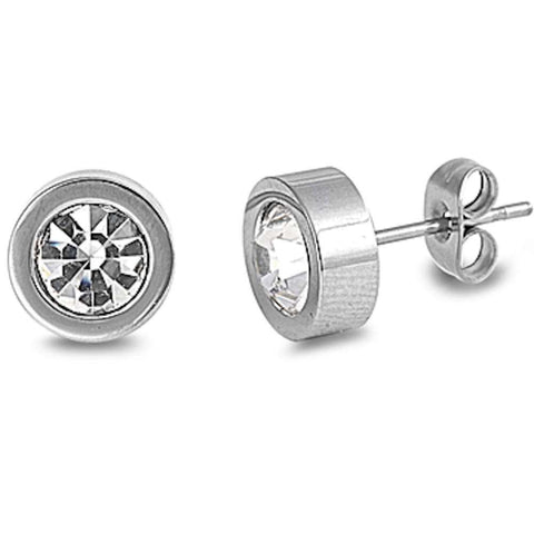 Round Cz Stainless Steel Stud  Earrings
