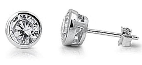 Stainless Steel Bezel 5mm CZ Stud Earrings