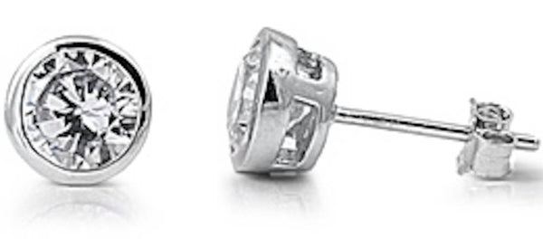 Stainless Steel Bezel 6mm CZ Stud Earrings