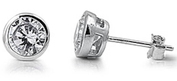 Stainless Steel Bezel 8mm CZ Stud Earrings