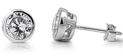Stainless Steel Bezel 9mm CZ Stud  Earrings