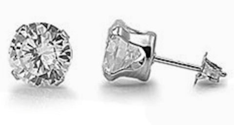Stainless Steel Round Clear 6mm CZ Stud Earrings
