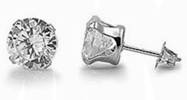 Stainless Steel Round Clear 7mm CZ Stud Earrings