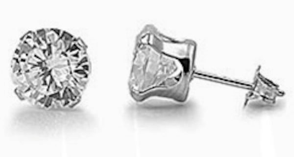 Stainless Steel Round Clear 8mm CZ Stud Earrings