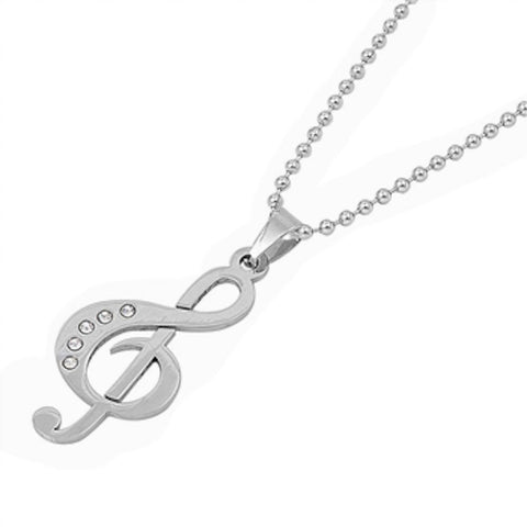 Stainless Steel Treble Clef Music Note Necklace