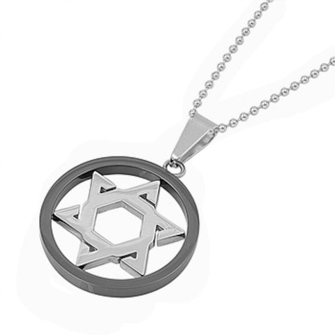 Stainless Steel Star of David in Black Plated Necklace