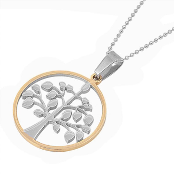 Stainless Steel Tree of Life in Yellow Plated Necklace
