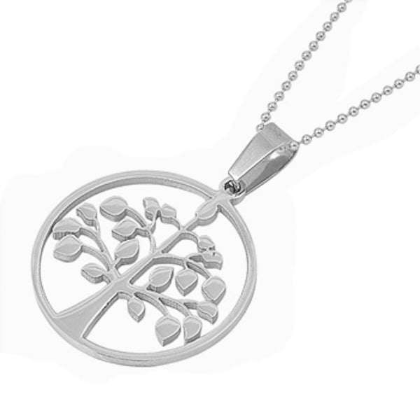 Stainless Steel Solid Tree of Life Necklace