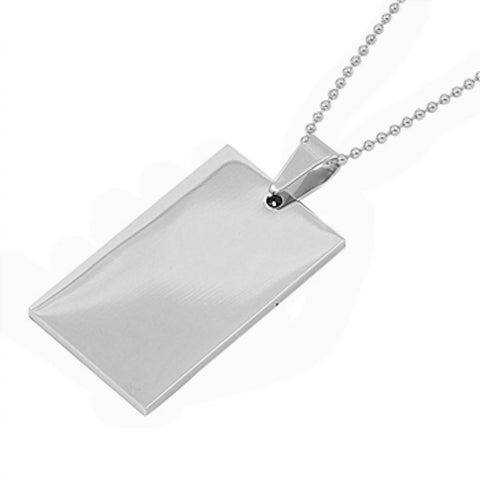 Stainless Steel Solid Rectangle Necklace