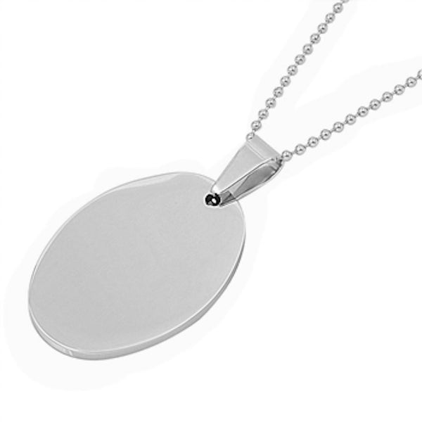 Stainless Steel Solid Oval Necklace