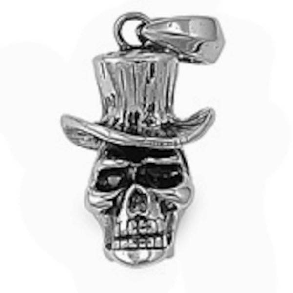 Stainless Steel Skull in a Hat Pendant