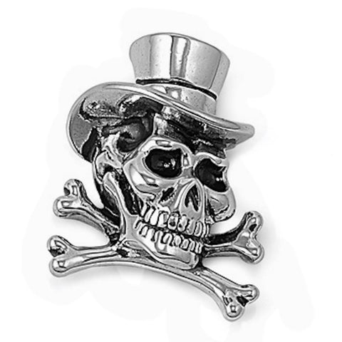 Stainless Steel Skull with Hat Pendant