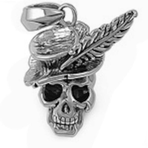 Stainless Steel Skull with feathered Hat Pendant