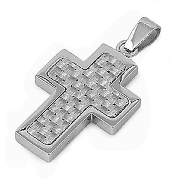 Stainless Steel Woven Design Cross Pendant